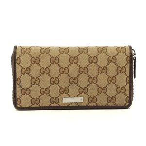 Auth Gucci Zippy Wallet Brown Canvas #5877G15